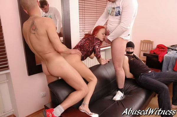 Redhead's first threesome fuck
